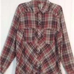 FREE PEOPLE Multi-Color Plaid Snap Front Tunic Top